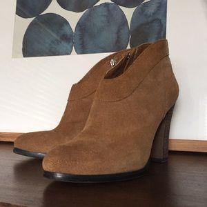 CROMA VINTAGE Leather Suede Block Heel Booties 8.5